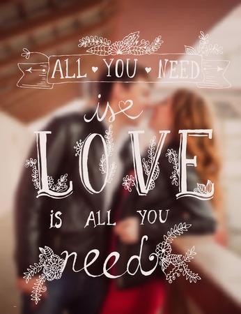 baiser amoureux: Valentines carte de voeux de jour dans le style hippie mill�sime