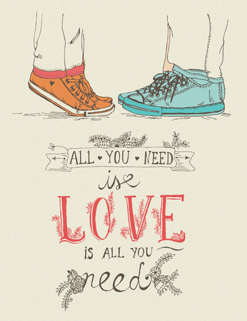 kiss couple: Valentines day greeting card in vintage hipster style Illustration