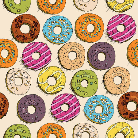 Donuts seamless pattern in doodle design. Cartoon style. Vintage.