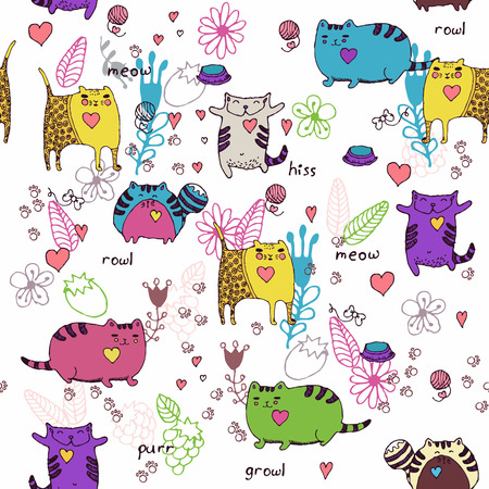 Cats seamless pattern in doodle style. Cat and kitten. Cartoon design.
