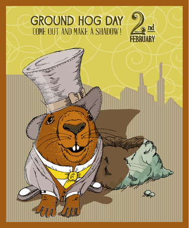 wild hog: Groundhog day poster in vintage doodle style.  Illustration
