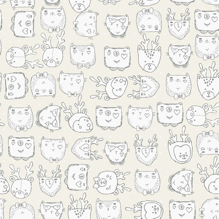 baby girl cartoon: Seamless pattern with cute animals for baby fabric Illustration