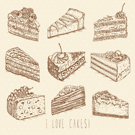 cakes background: Set of cakes in doodle vintage style. Hand drawn vector illustration.