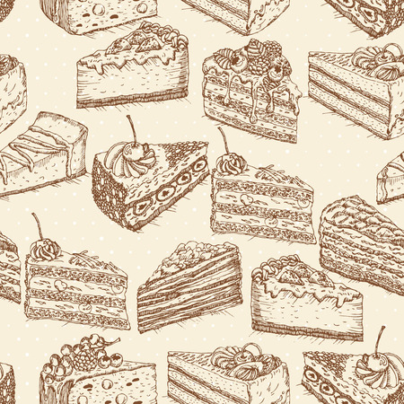 party pastries: Seamless pattern with pieces of cakes, pies in doodle vintage style. Hand drawn vector illustration.