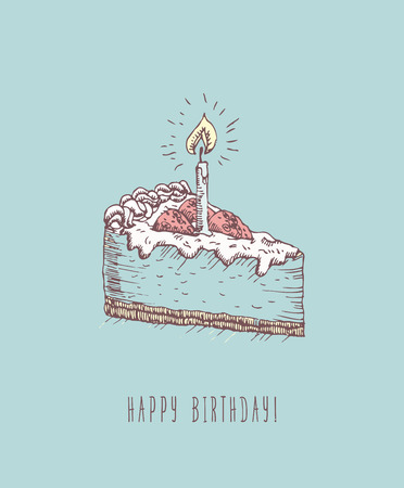 Birthday Greeting Card With Cake In Doodle Design Hand Drawn