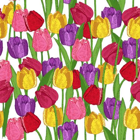 봄 꽃 원활한 패턴입니다. 튤립. 여름 꽃 배경입니다. 낙서 빈티지 스타일에서 꽃 피는 식물과 질감입니다. 스케치. 소식통 꽃 디자인. 일러스트