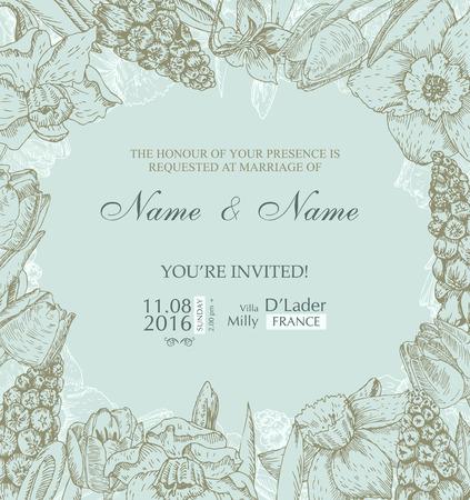 Hochzeits-Einladung mit Blumen. Frühling Kirsche-Blüte Standard-Bild - 36185871