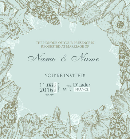 Wedding invitation with flowers. Spring cherry blossom