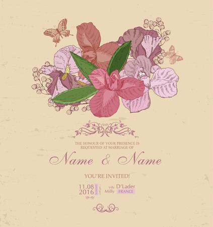 iris fiore: Invito a nozze con i fiori. Spring iris flower Vettoriali