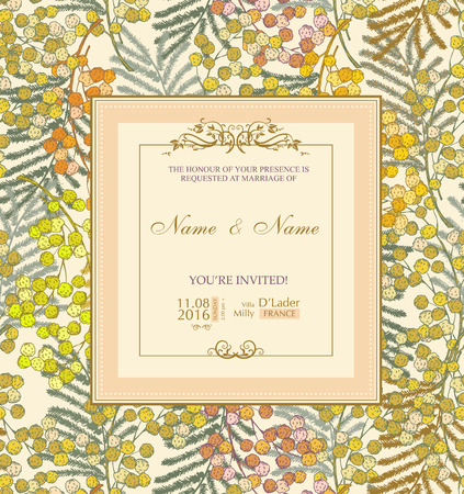 mimosa: Wedding invitation with flowers. Mimosa Illustration