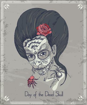 tatouage sexy: Jour du cr�ne mort. Femme avec calavera maquillage.
