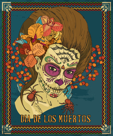 tattoo girl: Day of the dead skull. Woman with calavera makeup.