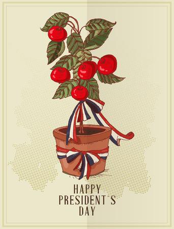 Happy presidents day Vector postcard. Sketch. Vector