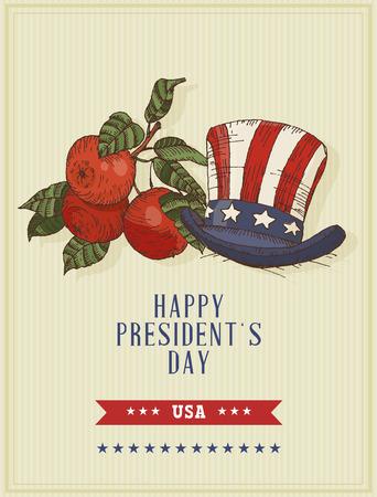presidents: Happy presidents day Vector postcard. Sketch.