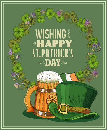 Happy St. Patricks day greeting card. Poster design elements for Patrick Day