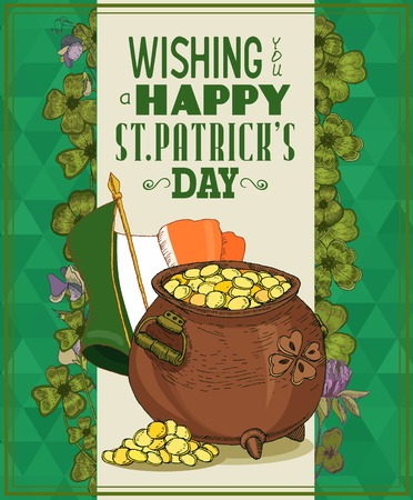 patrick banner: Happy St. Patricks day greeting card. Poster design elements for Patrick Day