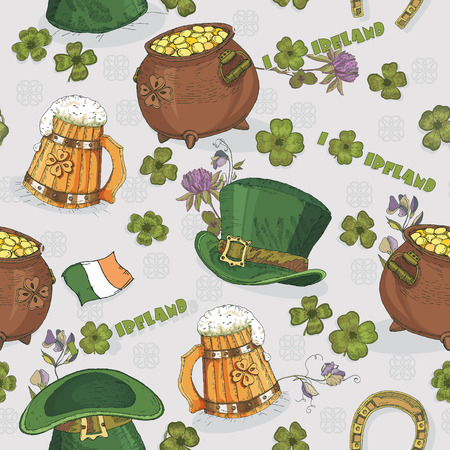 Seamless pattern St. Patrick day. Background in irish vintage style. I love Ireland. Vector