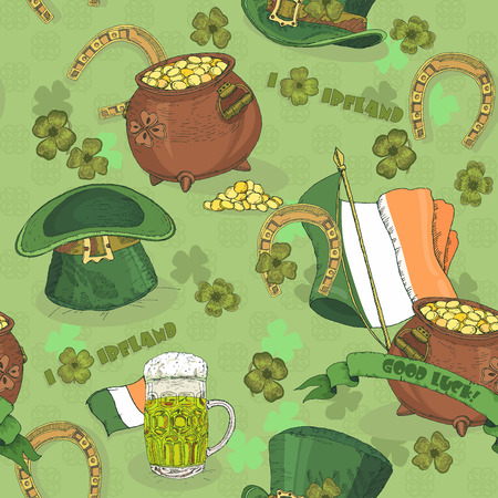 stpatrick: Seamless pattern St. Patrick day. Background in irish vintage style. I love Ireland.