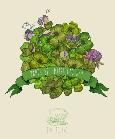 Happy St. Patricks day greeting card. Illustration