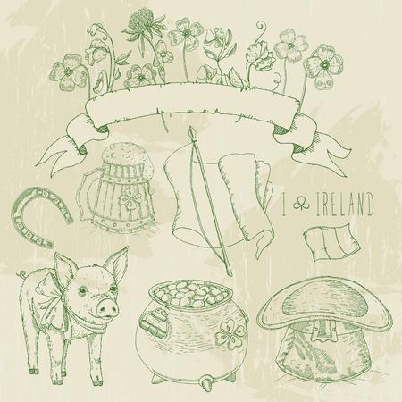 shamrock: St. Patrick day set. Horseshoe, pot of gold, shamrocks, Irish hat, pig, beer mug. Hand drawn vector illustration.