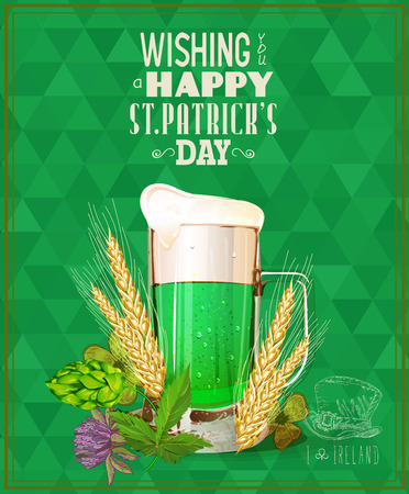 Happy St. Patricks day. St. Patricks day poster with beer mug on green background. Illustration