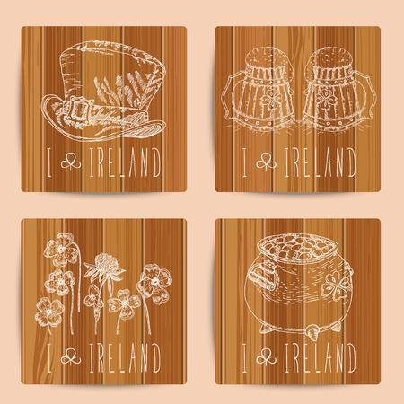 irish pub label design: Happy St. Patricks day. Coasters. Beer Illustration