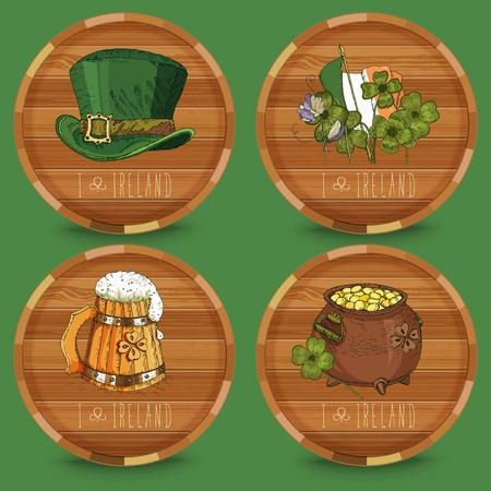 Happy St. Patricks day. Coasters. Beer Vector