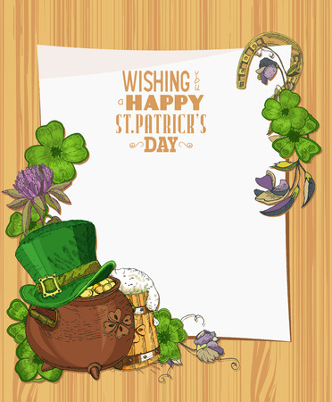 Happy St. Patricks day template. Wooden texture background with clover. Paper Vector