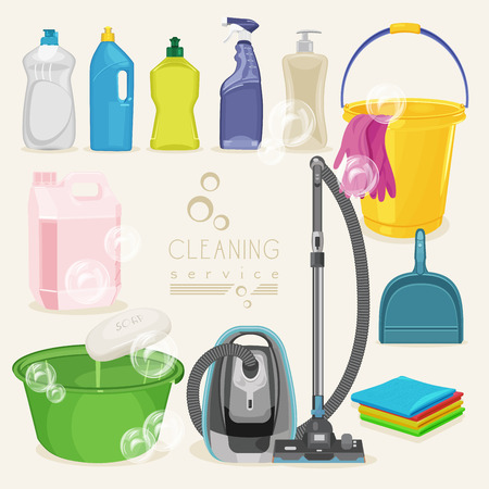 domestic bathroom: Cleaning kit icons. Supplies. Vector illustration. Illustration