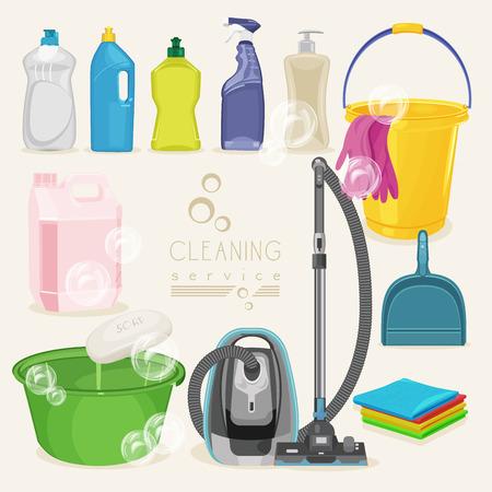 productos de limpieza: Limpieza de iconos del kit. Suministros. Ilustración del vector. Vectores