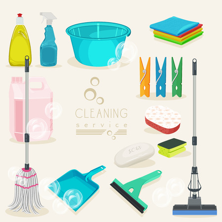 broom: Cleaning kit icons. Supplies. Vector illustration. Illustration