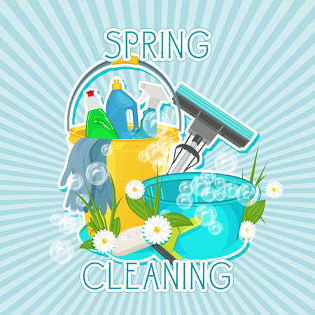 supplies: Poster design for cleaning service and cleaning supplies. Spring cleaning kit icons Illustration
