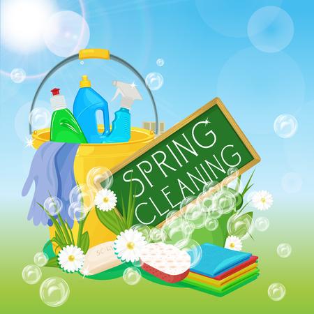 서비스를 청소 및 청소 용품 포스터 디자인. 봄 청소 키트 아이콘