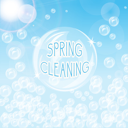 cleaning background: Blue background with bubbles and flare