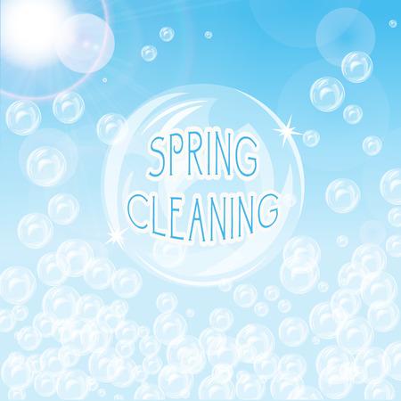 bulles de savon: Fond bleu avec des bulles et flare Illustration