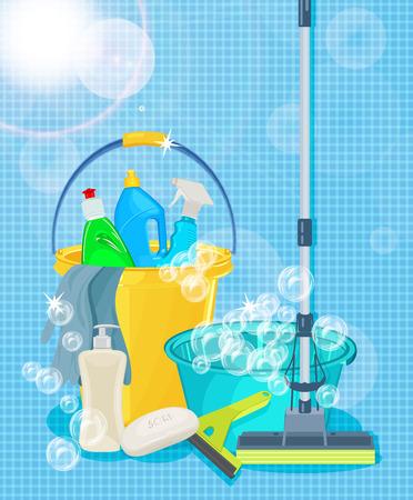 クリーニング サービスやクリーニング用品のためのポスター デザイン。クリーニング キットのアイコン