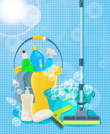 Poster design for cleaning service and cleaning supplies. Cleaning kit icons Çizim