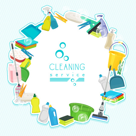 Domestic cleaning: Poster design for cleaning service and cleaning supplies. Cleaning kit icons Illustration