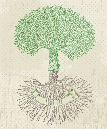 Tree with roots on rough background. Arbor day poster in vintage style. Illustration