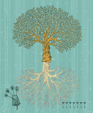 大まかな背景にルーツを持つツリー。ビンテージ スタイルの植樹の日のポスター。  イラスト・ベクター素材