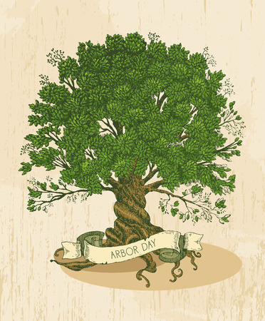 Tree with roots on rough background. Arbor day poster in vintage style. Ilustracja