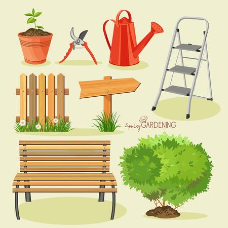 garden hose: Spring gardening. Garden icon set