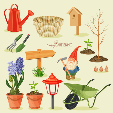 jardinero: Jardinería primavera. Jardín conjunto de iconos Vectores