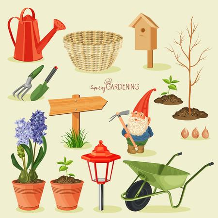 watering garden: Spring gardening. Garden icon set