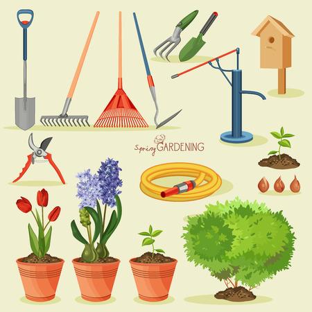 봄 정원. 정원 아이콘을 설정