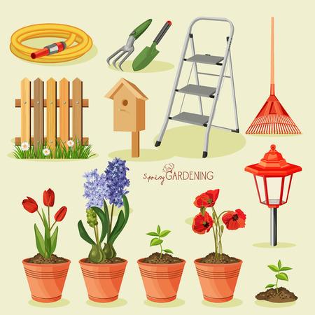 jardinero: Jardiner�a primavera. Jard�n conjunto de iconos Vectores