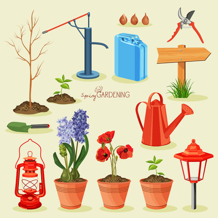 Spring gardening. Garden icon set Vector