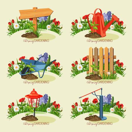 carretilla: Establece jardinero Tarjeta. Jardinería primavera.