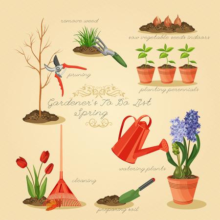 pruning: Spring gardening to do list. Card gardener set.