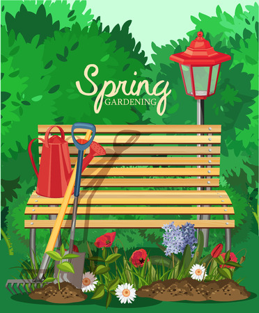 spring landscape: Garden card poster design. Vector illustration